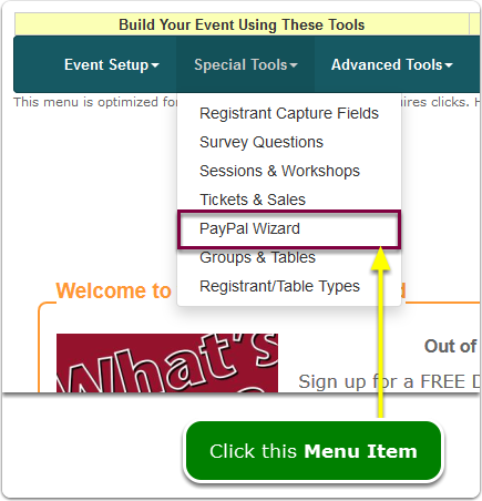 If Menus, your PayPal Wizard tool is located here ...