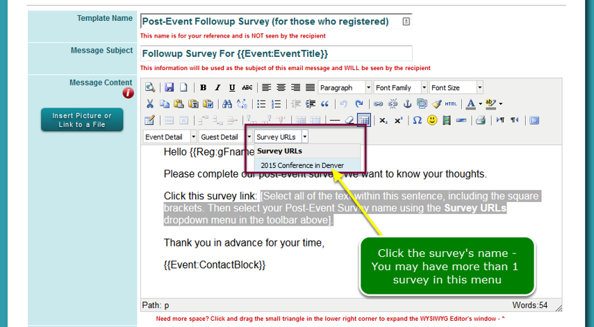 Now add the link to the survey ...