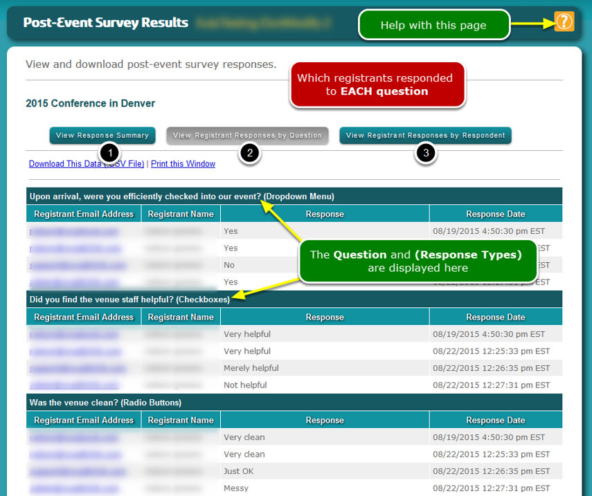 This is the View Registrant Responses by QUESTION screen (#2) ...