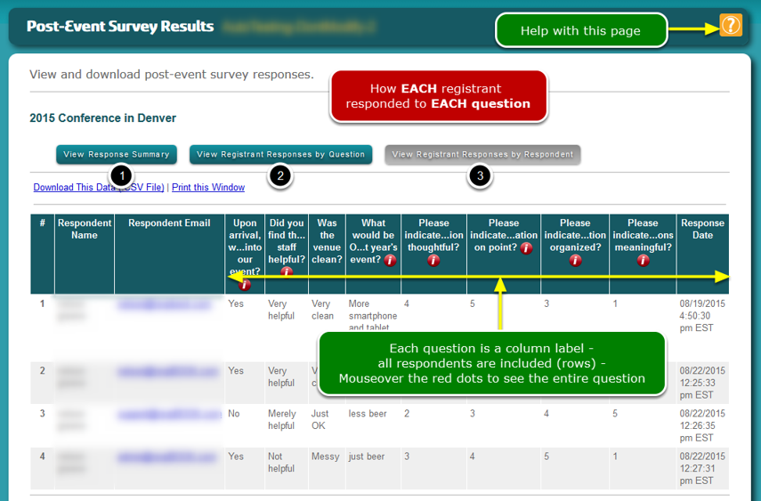 This is the View Registrant Responses by RESPONDENT screen (#3) ...