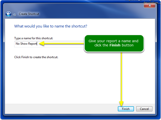 Type a report name and click the Finish button.