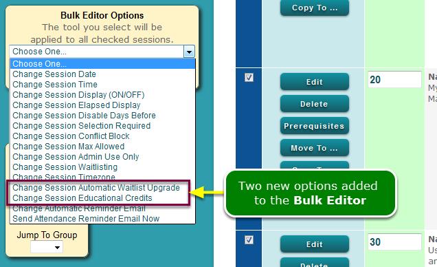 New: Session Bulk Edit options