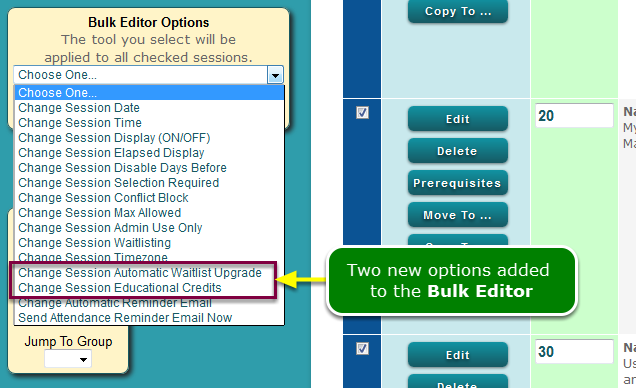 New: Session Bulk Edit options
