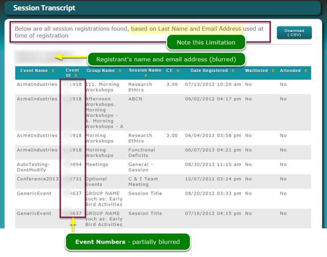 Transcript Report - Registrant List