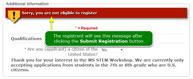 What will the registrant see?