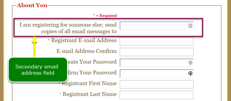 Secondary Email Address - About You Editor
