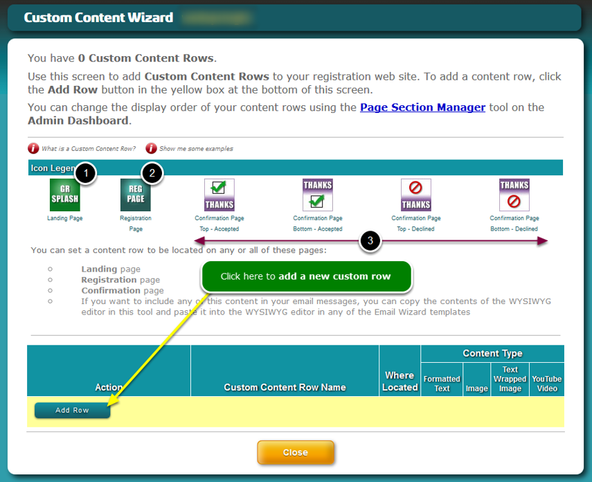 The Custom Content Wizard opens ...