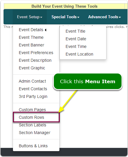 If Menus, your Custom Rows tool is located here ...