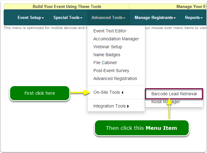 If Menus, your Lead Retrieval tool is located here ...