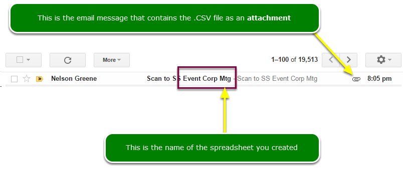 Open the email message with the .CSV file as an attachment
