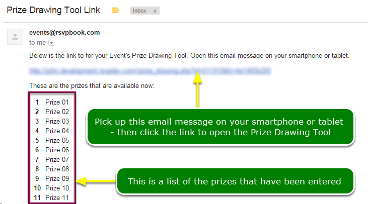 What does the emailed link message look like?