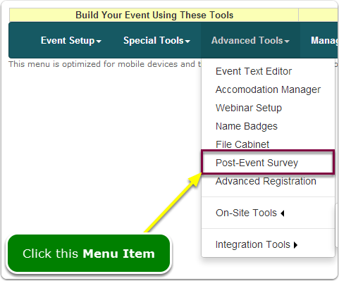 If Menus, your Post-Event Survey tool is located here ...