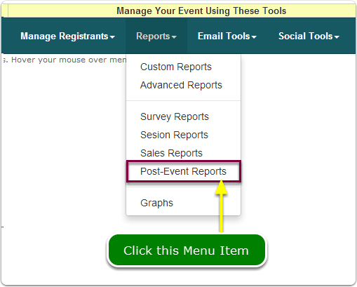 If Menus, the Post-Event Reports are located here ...