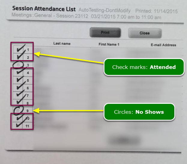 3. Collect the marked up Session Signup Sheets from the door attendants ...