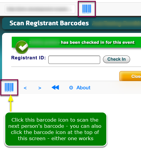 On Session day, do the following to check-in attendees by scanning a barcode  ...