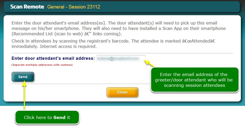 Admin sends 'Scan to Remote URL' to door attendants