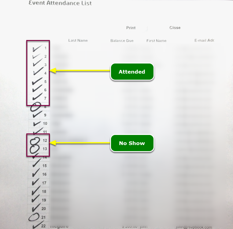 3. Collect the marked up Event Signup Sheets ...