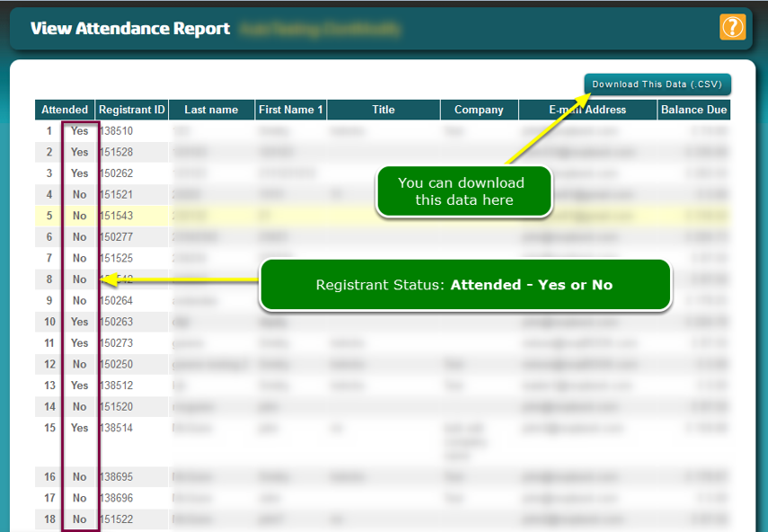"""The Attendance List has been updated and registrants in the .CSV file have been marked """"Attended"""""""