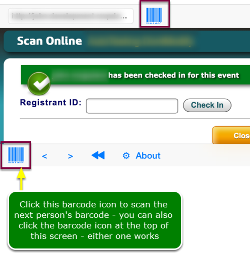 On Event day, do the following to scan a barcode to check-in attendees ...