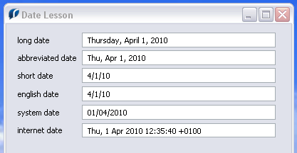 Different date formats