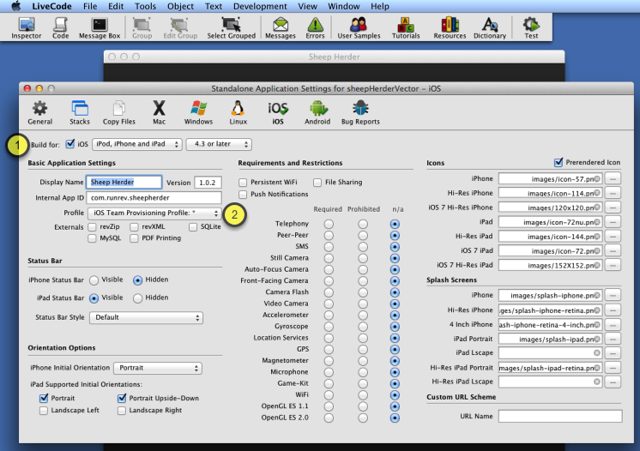 Open the standalone builder and configure deployment options