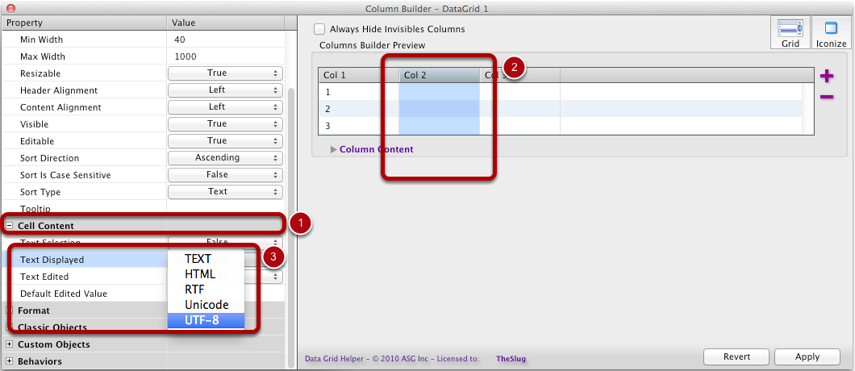 Changing the Text Displayed Parameter for One Column