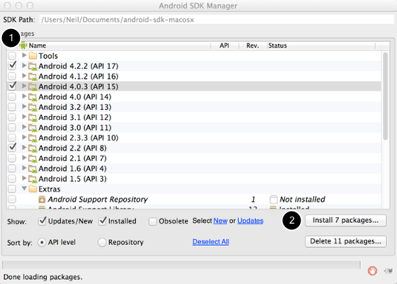 Installing the Android SDK Packages