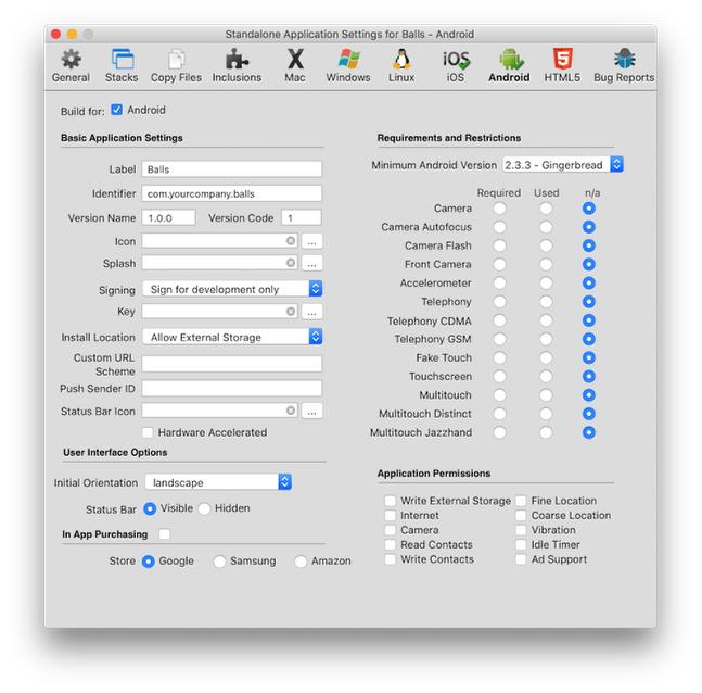 The Standalone Application Settings... Window
