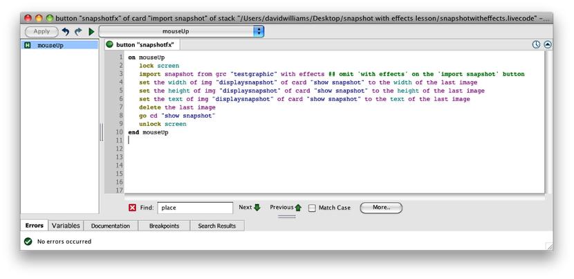 Using code to take a snapshot