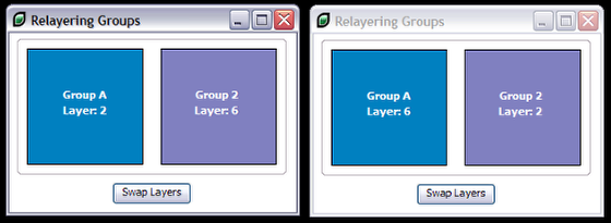Relayering grouped controls