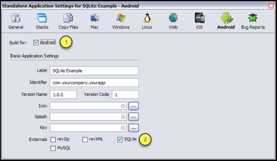 Setting up the standalone settings for Android
