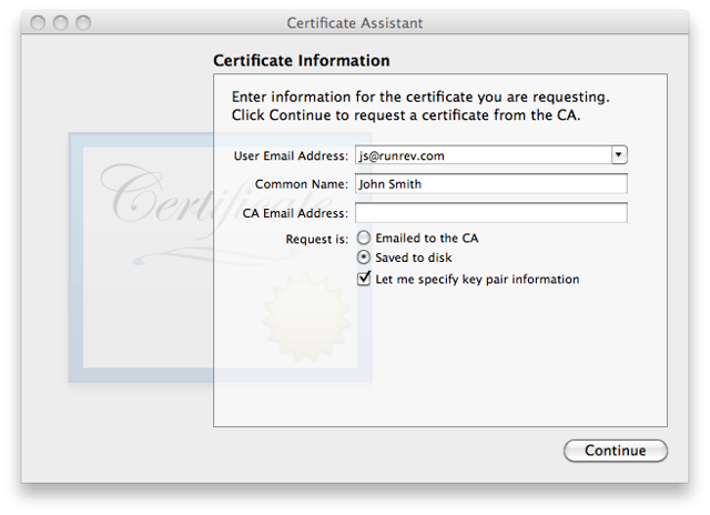Generating a Certificate Signing Request