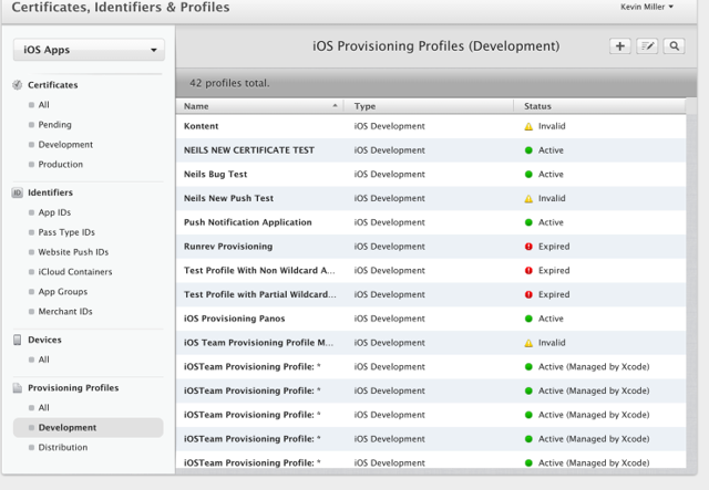 Creating and Downloading the Development Profile