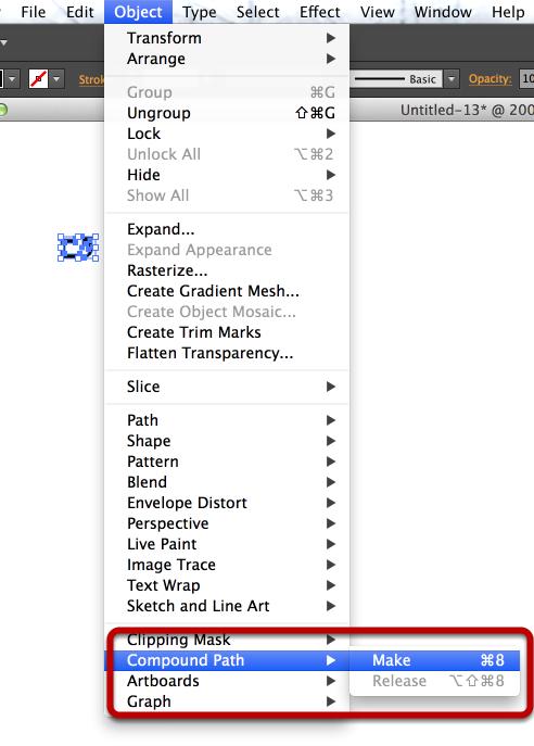 Object > Compound Path > Make