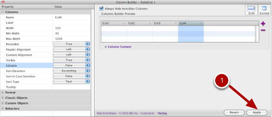 Apply The Column Builder Properties To The DataGrid