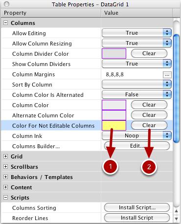 Selecting a Color for Non Editable Columns