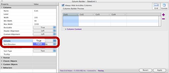 Setting the Editable Properties of a Column to False