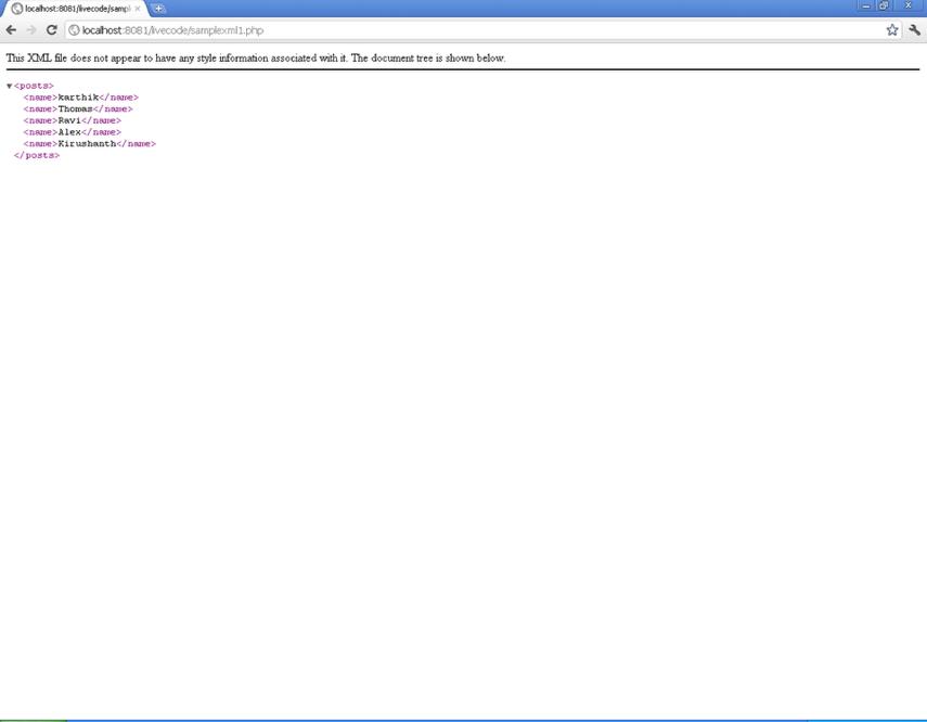 Output of Web Service
