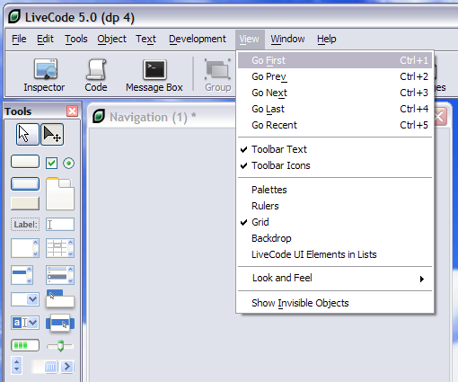 Navigating in the IDE - Using the View Menu