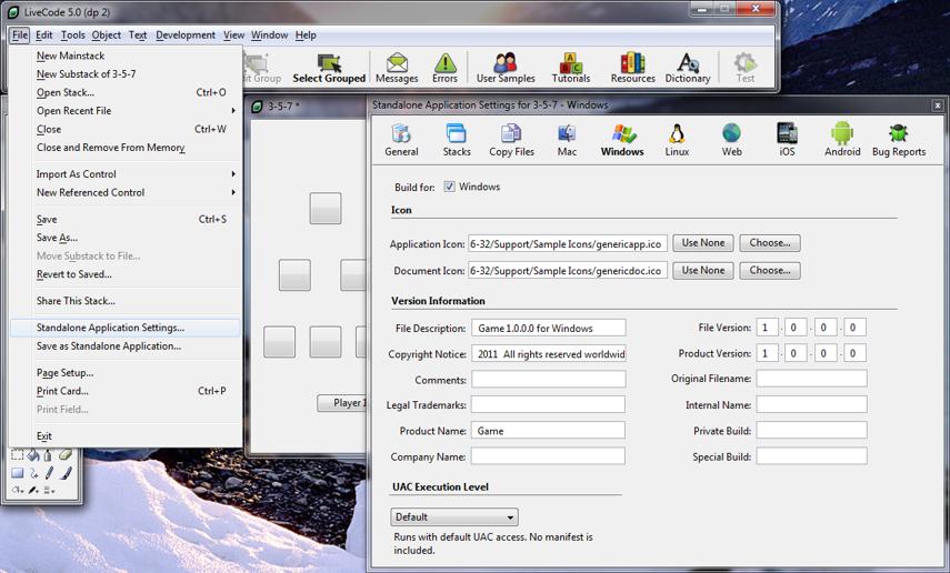 Standalone Application Settings