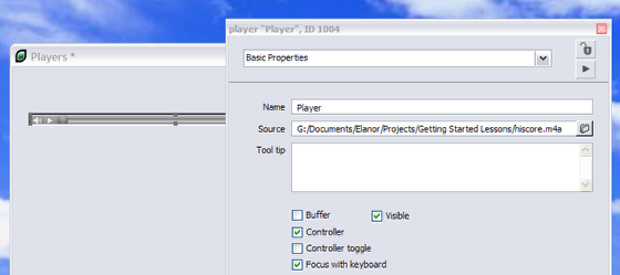 Setting the Filename of the Player