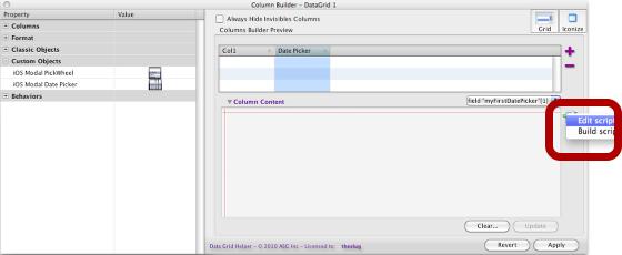 Editing The Date Picker type in the DatePicker's column script