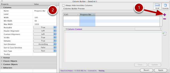 Building Columns in the Columns Builder Preview