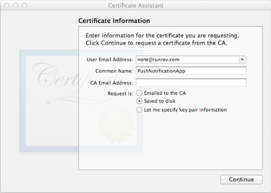 Creating a Certificate Signing Request