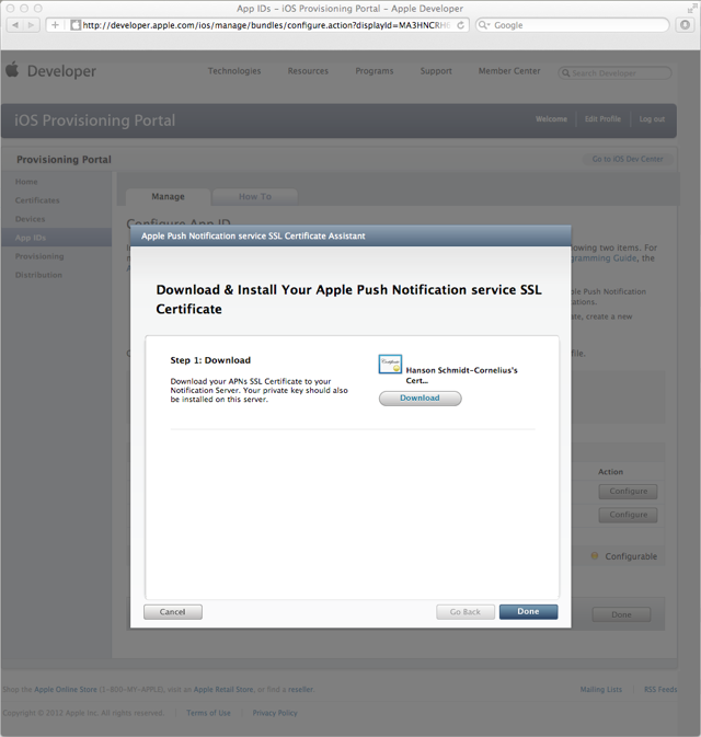 Downloading the Apple Push Notification service SSL Certificate