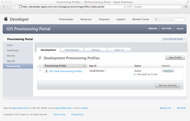 Development Provisioning Profiles