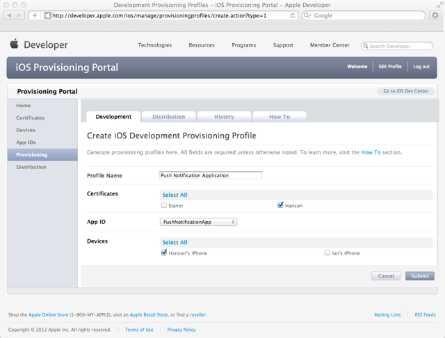 Creating a new Development Provisioning Profile