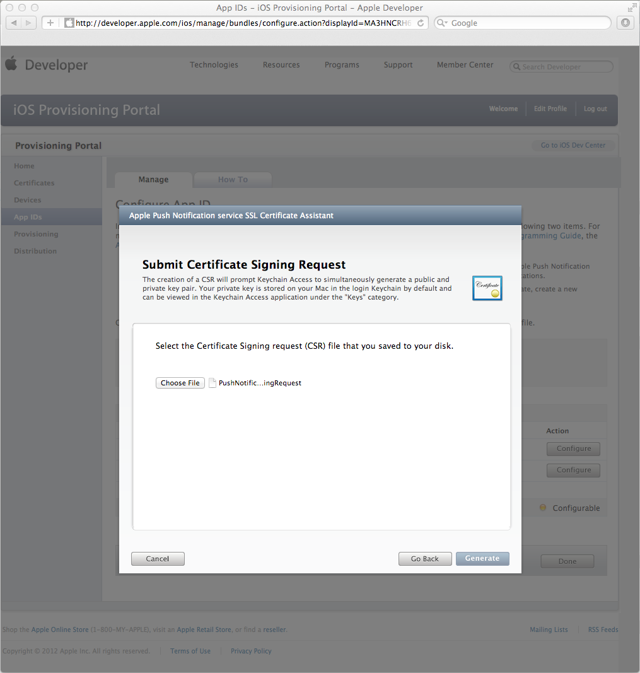 Submitting the Certificate Signing Request
