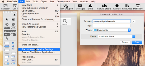 Open the Standalone Settings Pane and Save Your Stack