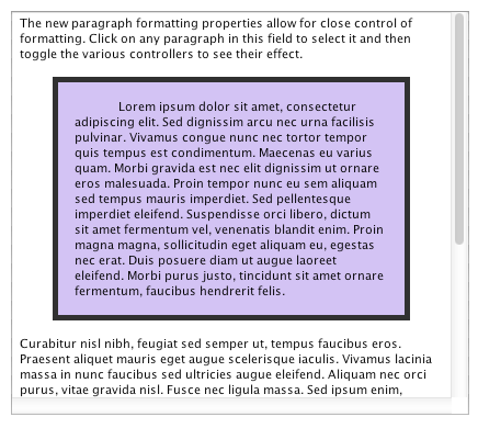 Indent our paragraph (leftIndent and rightIndent properties)